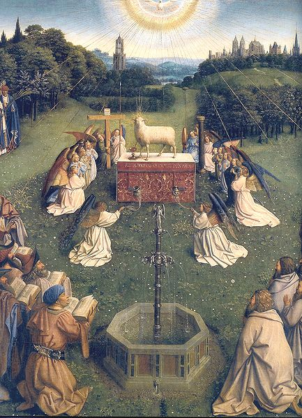 433px-Ghent_Altarpiece_D_-_Adoration_of_the_Lamb_2